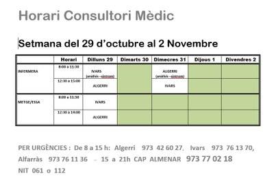 HORARI CONSULTORI MÈDIC A IVARS DE NOGUERA (29/10/18-02/11/18)
