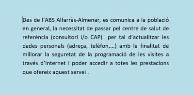 INFORMACIÓ DES DE L'ABS ALFARRÀS-ALMENAR