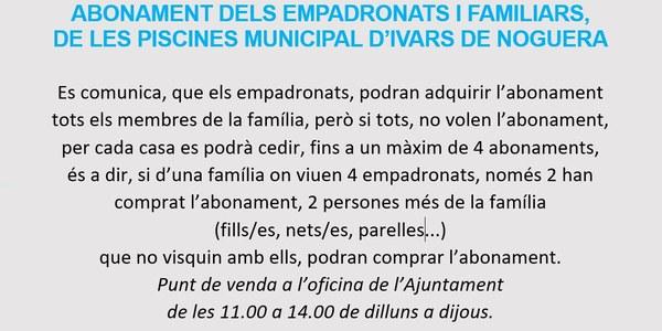 ABONAMENT PER EMPADRONATS I FAMILIARS, A LES PISCINES D'IVARS DE NOGUERA