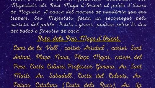 ARRIBADA DE S.S.M.M. ELS REIS MAGS D'ORIENT, A IVARS DE NOGUERA A LES 19.00 h.