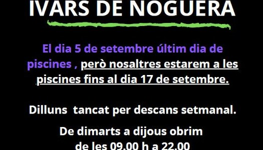 BAR PISCINES MUNICIPALS A IVARS DE NOGUERA OBERT FINS EL 17.09.2021