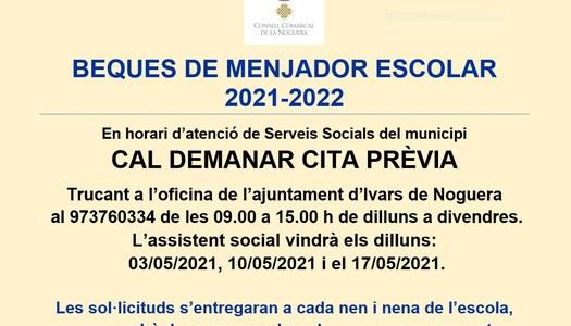 BEQUES DEL MENJADOR ESCOLAR 2021-2022.