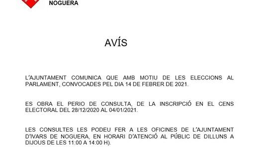 CONSULTES AL CENS ELECTORAL, PER LES ELECCIONS AL PARLAMENT DE CATALUNYA (14.02.2021)