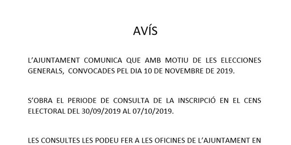 CONSULTES AL CENS ELECTORAL PER LES ELECCIONS GENERALS 10.11.2019
