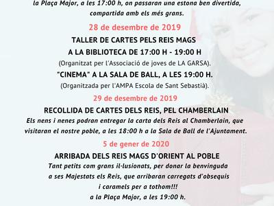 DATES ASSENYALADES FESTES DE NADAL A IVARS DE NOGUERA.