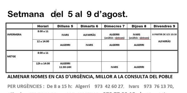 HORARI CAP D'IVARS DE NOGUERA DE L'5 AL 9 D'AGOST DE 2019