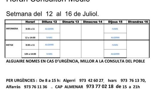 HORARI CAP D'IVARS DE NOGUERA, DEL 12 AL 16 DE JULIOL