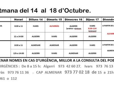 HORARI CAP D'IVARS DE NOGUERA DEL 14 AL 18 D'OCTUBRE 2019