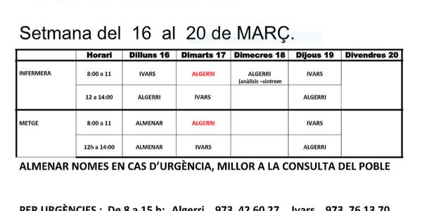 HORARI CAP D'IVARS DE NOGUERA DEL 16 AL 20 DE MARÇ DE 2020