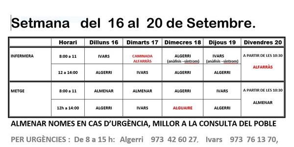 HORARI CAP D'IVARS DE NOGUERA DEL 16 AL 20 DE SETEMBRE 2019