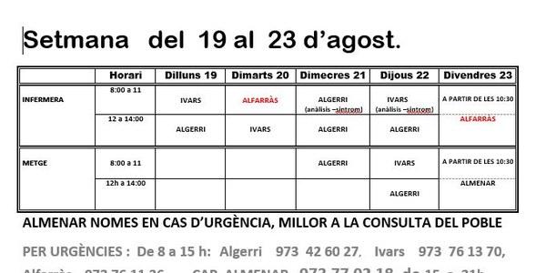HORARI CAP D'IVARS DE NOGUERA DEL 19 AL 23 D'AGOST 2019