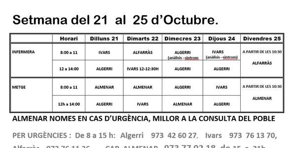 HORARI CAP D'IVARS DE NOGUERA DEL 21 AL 25 D'OCTUBRE 2019