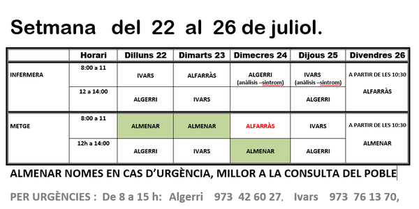 HORARI CAP D'IVARS DE NOGUERA DEL 22 AL 26 DE JULIOL