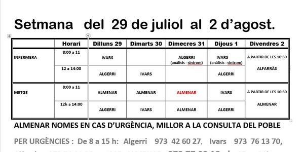 HORARI CAP D'IVARS DE NOGUERA DEL 29 AL 2 D'AGOST