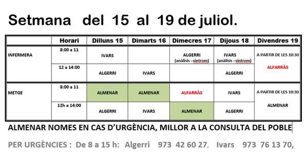 HORARI CAP IVARS DE NOGUERA DEL 15 AL 19 DE JULIOL