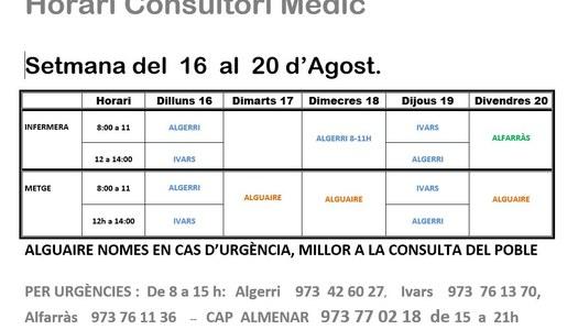 HORARI CONSULTORI DEL 16 AL 20 D'AGOST A IVARS DE NOGUERA