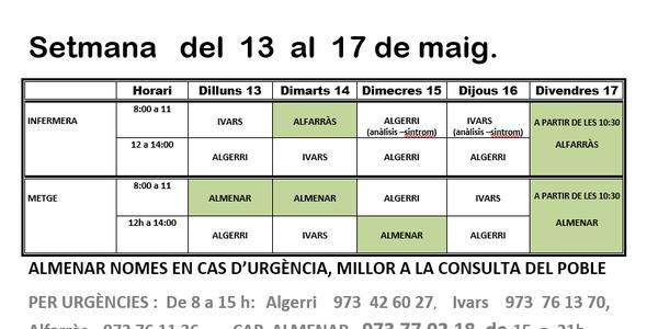 HORARI CONSULTORI MÈDIC A IVARS DE NOGUERA DEL 13 AL 17 DE MAIG