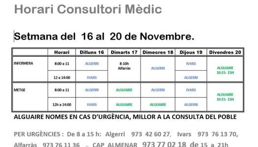 HORARI CONSULTORI MÈDIC A IVARS DE NOGUERA DEL 16 AL 20 DE NOVEMBRE