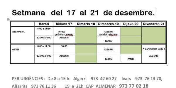 HORARI CONSULTORI MÈDIC A IVARS DE NOGUERA DEL 17 AL 21 DE DESEMBRE