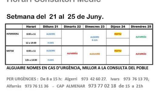 HORARI CONSULTORI MÈDIC, A IVARS DE NOGUERA, DEL 21 AL 25 DE JUNY