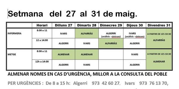 HORARI CONSULTORI MÈDIC A IVARS DE NOGUERA DEL 27 AL 31 DE MAIG