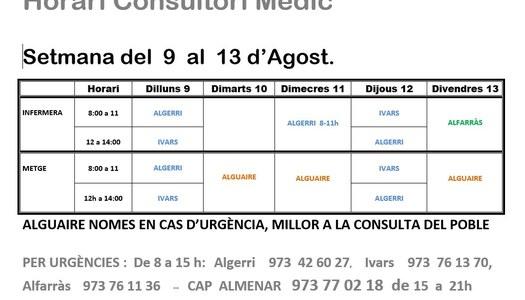 HORARI CONSULTORI MÈDIC A IVARS DE NOGUERA, DEL 9 AL 13 D'AGOST
