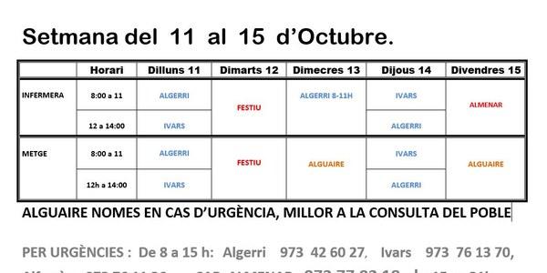 HORARI CONSULTORI MÈDIC DE L'11 AL 15 D'OCTUBRE DE 2021