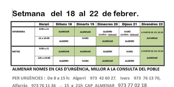 HORARI CONSULTORI MÈDIC DEL 18 AL 22 DE FEBRER A IVARS DE NOGUERA