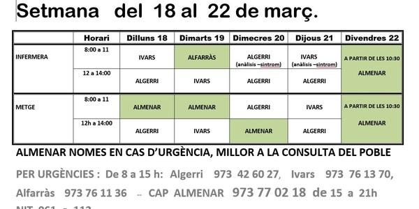 HORARI CONSULTORI MÈDIC DEL 18 AL 22 DE MARÇ DE 2019