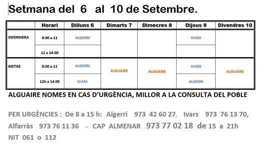 HORARI CONSULTORI MÈDIC DEL 6 AL 10 DE SETEMBRE A IVARS DE NOGUERA