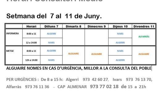 HORARI CONSULTORI MÈDIC DEL 7 AL 11 DE JUNY, A IVARS DE NOGUERA