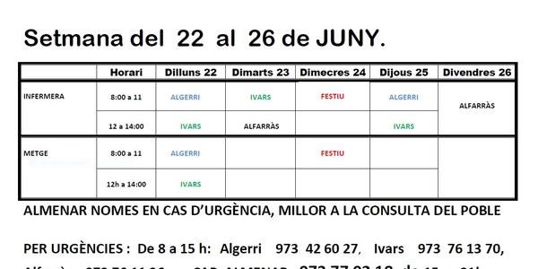 HORARI CONSULTORI MÈDIC D'IVARS DE NOGUERA DEL 22 al 26 de juny de 2020