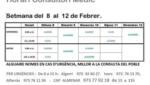 HORARI CONSULTORI MÈDIC D'IVARS DE NOGUERA DEL 8 AL 12 E FEBRER
