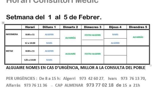HORARI CONSULTORI MÈDIC IVARS DE NOGUERA DE L'1 AL 5 DE FEBRER
