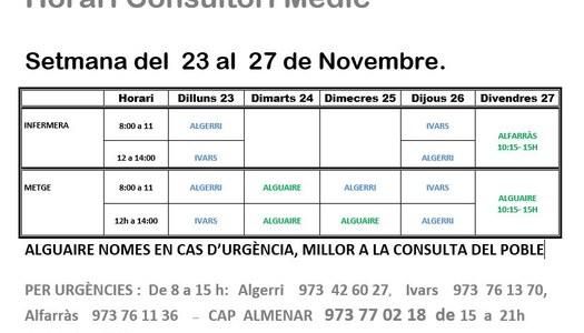 HORARI CONSULTORI MÈDIC IVARS DE NOGUERA DEL 23.11.2020 AL 27.11.2020