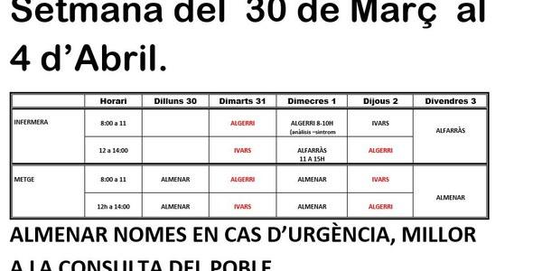 HORARI CONSULTORI MÈDIC IVARS DE NOGUERA DEL 30.03.2020 AL 03.04.2020