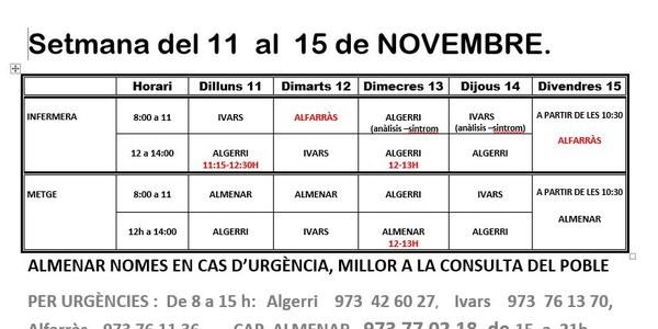 HORARI CONSULTORI MÈDIC IVARS DE NOGUERA DEL 11 AL 15 de NOVEMBRE