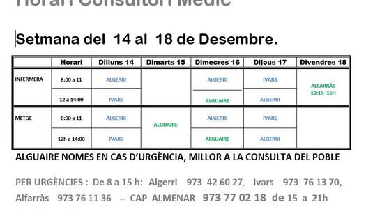 HORARI DEL CAP D'IVARS DE NOGUERA, DEL 14 AL 18 DE DESEMBRE DE 2020