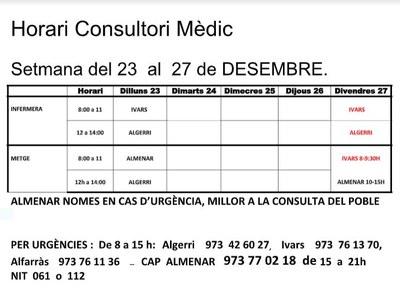 HORARI DEL CAP D'IVARS DE NOGUERA DEL 23 AL 27 DESEMBRE