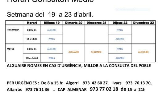 HORARI DEL CONSULTORI MÈDIC A IVARS DE NOGUERA, DEL 19 AL 23 D'ABRIL.