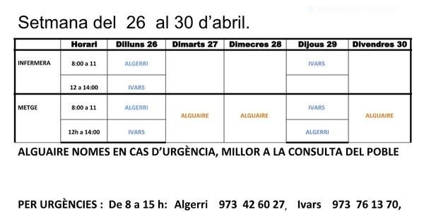 HORARI DEL CONSULTORI MÈDIC, A IVARS DE NOGUERA DEL 26 AL 30 D'ABRIL.