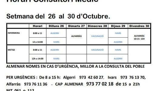 HORARI DEL CONSULTORI MÈDIC A IVARS DE NOGUERA DEL 26 AL 30 D'OCTUBRE