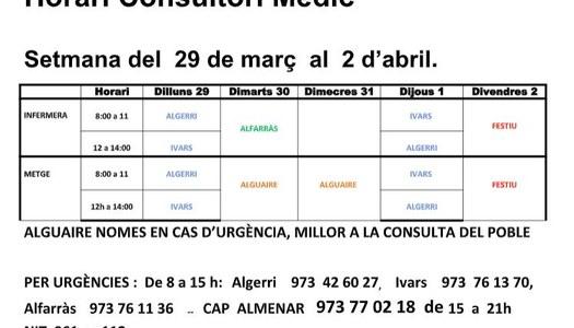 HORARI DEL CONSULTORI MÈDIC, A IVARS DE NOGUERA DEL 29/03/2021 AL 02/04/2021