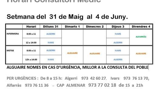 HORARI DEL CONSULTORI MÈDIC, A IVARS DE NOGUERA DEL 31 DE MAIG AL 4 JUNY.