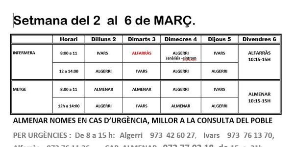 HORARI DEL CONSULTORI MÈDIC DEL 2 AL 6 DE MARÇ DE 2020, IVARS DE NOGUERA