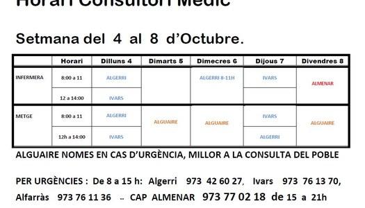 HORARI DEL CONSULTORI MÈDIC DEL 4 AL 8 D'OCTUBRE,  A IVARS DE NOGUERA