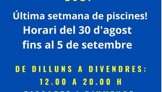 HORARI PISCINES MUNICIPALS D'IVARS DE NOGUERA DEL 30.08.2021 AL 05.09.2021