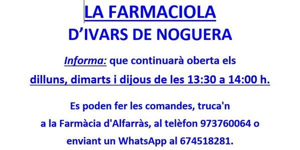 HORARIS DE LA FARMACIOLA D'IVARS DE NOGUERA