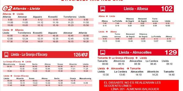 INFORMACIÓ ATM PER DISSABTES A PARTIR DEL 21/03/2020