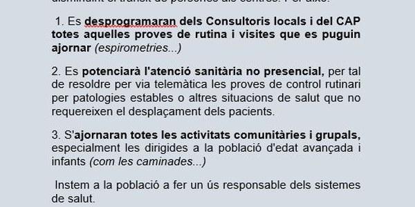 INFORMACIÓ DEL CAP ALFARRÀS-ALMENAR I CONSULTORIS LOCALS